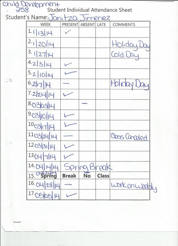 Janitzau0027s 258 Portfolio  Attendance Sheet For Students